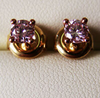 PINK DIAMOND 0.44ct PAIR 100% UNTREATED +18ct Y GOLD EARRINGS +GIA CERTIFICATES