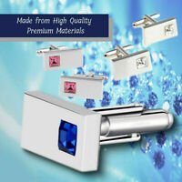 Classy Square Crystal Gemelous CZ Silver Plated Rectangular Formal Cufflinks