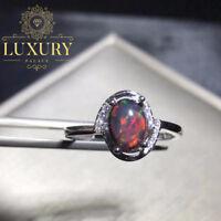 Natural Ethiopian Black Opal Gemstone Solid 925 Sterling Silver Women Rings