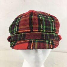 D&Y Manhattan Hat Company Unisex One Size Red Plaid Acrylic Cabbie Newsboy Cap