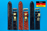 Echt Kroko Uhrband Made in Germany  16,17,18,19,20mm schwarz braun blau