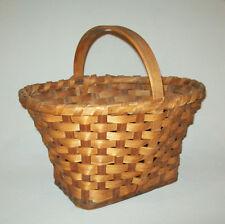 Nice Old Vtg Ca 1960s Hand Woven Signed Oak Splint Market Basket Tapered Oval