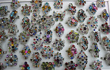 Wholesale Mix Lots 30pcs Oversize Crystal Rhinestone Multicolor Adjust Ring AN42