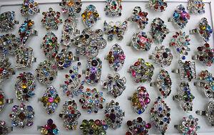 Wholesale Mixed Lots 30pcs Oversize Charm Rhinestone Multicolor Adjustable Rings