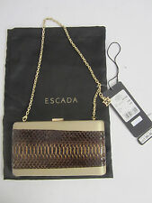 $1,395.00 ESCADA Caramel Satin & Brown Snake Skin w/ Gold Chain Clutch Purse
