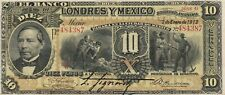 Mexico: $ 10 Pesos El Banco de Londres y Mexico Jan 2, 1913.