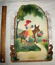 Lrg Antique Die Cut Scrap Victorian Calendar Back German Little Red Riding Hood