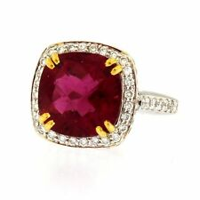 Charles Krypell Diamond, Pink Sapphires, & Rubellite 18kt Two-tone Gold Ring