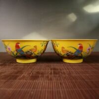 """5.8"""" Chinese Porcelain Yellow Bottom Famille Rose Flowers and Birds Bowl Pair #3"""