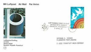 PAKISTAN 1987 FIRST FLIGHT LUFTHANSA AIRBUS A300 TO FRANKFURT AIR MAIL POSTCARD