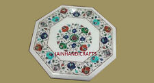 """18"""" marble dining coffee corner center side inlay malachite table white top"""