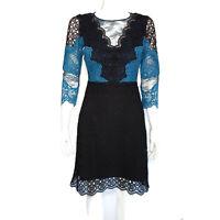 SANDRO Paris Stunning Lace Black Blue Panal Romantic Dress size small /9527