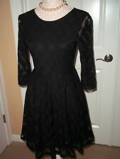 h&m Long-sleeved lace dress with zip at the back flared skirt Lined XS