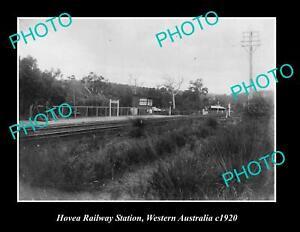 OLD 8x6 HISTORIC PHOTO OF HOVEA RAILWAY STATION WESTERN AUSTRALIA c1920