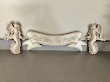"""Collections Etc. Ribbon Plaque """"God Bless This House� 17� Wall Decor w/ 2 Angels"""