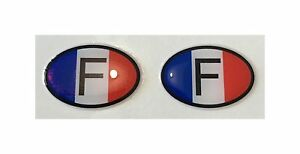 F France Int. Code 2x Small Oval 3D Gel Flag Stickers Domed Gsm Moto Bike Car