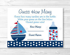 "Nautical Sailboat Blue & Red Baby Shower ""Guess How Many?"" Game Cards"