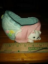 Vintage! Planter Kitty Cat Kitten Baby Bassinet Bed Blue and Pink Japan Sticker!