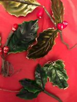 Vintage Holly Millinery Christmas Lacquered Repair Holiday Decor Doll Hat A15