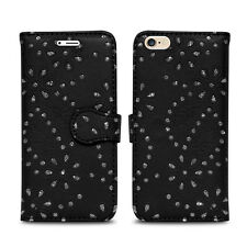 Flip Wallet Leather Cover Case for Apple iPhone Models Screen Protector Glitter Black I Phone 5 5s