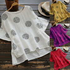 UK Womens Summer Short Sleeve T Shirt Blouse Ladies Casual Loose Tops Plus Size