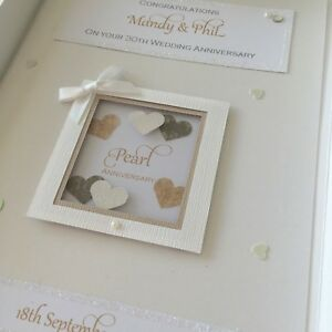 Personalised Boxed 30th Pearl Wedding Anniversary Card, Swarovski crystals