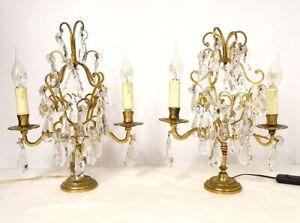 Paire girandoles 2 feux bronze doré cristal taillé pampilles fleurs XIXème