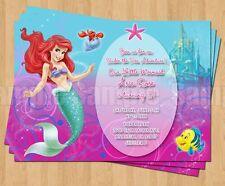 10 SPARKLE Ariel Little Mermaid Birthday Invitations 3rd 4th 5th 6th 7th Unique