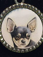 "Dog Chihuahua Black Charm Tibetan Silver with 18"" Necklace D3 BIN"