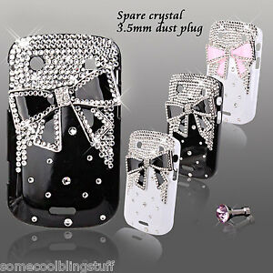 NEW COOL 3D BLING BLACK WHITE BOW DESIGNER DIAMANTE CASE FOR BLACKBERRY 9900 UK