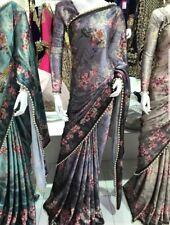 LATEST INDIAN ASIAN BRIDAL FLORAL SATIN SILK SAREE/SARI +LONG SLEEVE BLOUSE 😍
