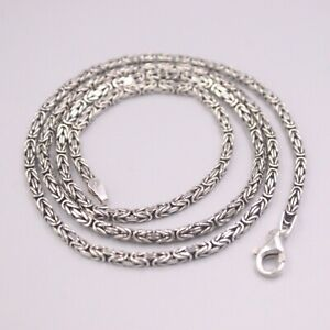 Sterling S925 Silver Lucky Byzantine Chain Link Necklace 23.6inch 3mmW 21-22g