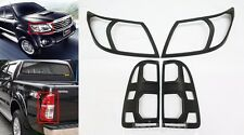 MATTE BLACK 4PCS COVER HEAD TAIL LIGHT FOR TOYOTA HILUX VIGO CHAMP 2012-2014 MK7