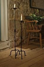 2 pc set QUEENSBURY FLOOR STANDING CANDLE STICK TAPER HOLDER BLACK METAL