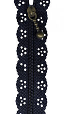 Navy Blue Lace Zip Zipper Sewing Craft  20cm / 8 Inches *New*