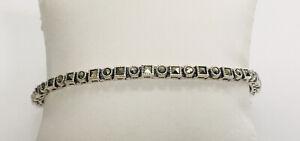 """Estate Jewelry Sterling Silver Fancy Marcasite Tennis Style Bracelet 7.5"""""""