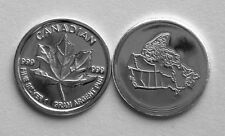 (100) 1 GRAM.999 PURE SILVER ROUND CANADIAN MAPLE LEAF