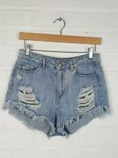 H&M Light Wash Blue Denim Ripped Distressed Detail Shorts Size UK 10