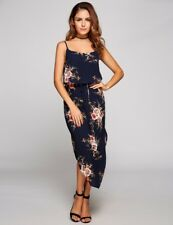 """DAKOTA"" GORGEOUS LADIES SIZE 10 NAVY BLUE FLORAL FLOWING SPAGHETTI STRAP DRESS"