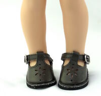 """Brown Flower Dress Shoes Fits Wellie Wishers 14.5"""" American Girl Clothes Shoes"""