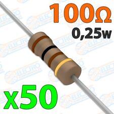 Resistencia 100 ohm 0,25w ±5% 300v - Lote 50 unidades - Arduino Electronica DIY
