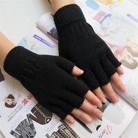 Chic Men Black Knitted Stretch Elastic Warm Half Finger Fingerless Gloves Winter