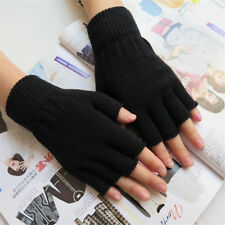 Men Black Knitted Stretch Elastic Warm Half Finger Fingerless Gloves Winter