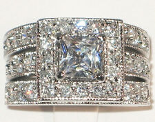 Engagement Wedding Ring Set- Size 7 Amazing Antique Princess Cut Cubic Zirconia