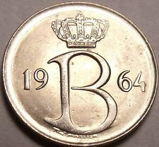 Gem Unc Belgium 1964 25 Centimes~1st Year Ever Minted~Excellent~Free Shipping