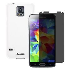 SAMSUNG GALAXY S5 WHITE TPU CASE COVER PROTECTOR PRIVACY SCREEN PROTECTOR COMBO