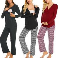 2PCS Women Maternity Nursing Pregnancy Long Sleeve Top Pants Pajama Set Suit
