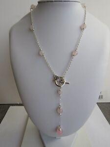 Sliver Plated Rose Quartz Lariat Necklace