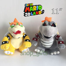 2X New Super Mario Bros. Dry Bowser Kooopa Plush Soft Toy Stuffed Teddy 11""