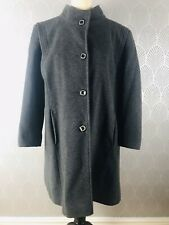 Eastex Grey Wool Blend Winter Coat Jacket Size 18 Animal Print Lining